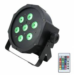 Flash LED PAR 56  7x10W 4in1 met afstandsbediening